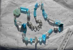 Handmade Multiple Bead Blue Necklace / Shades by TheYellowHouse39