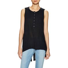 Free People Free People Women's Raw Sleeveless Split Top - Black -... ($29) ❤ liked on Polyvore featuring tops, black, free people, button front tops, free people tops, sleeveless knit top and sleeveless tops