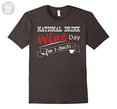 Mens Funny National Drink Wine Day Jan 1 Dec 31 T-shirt Medium Asphalt - Funny shirts (*Amazon Partner-Link)