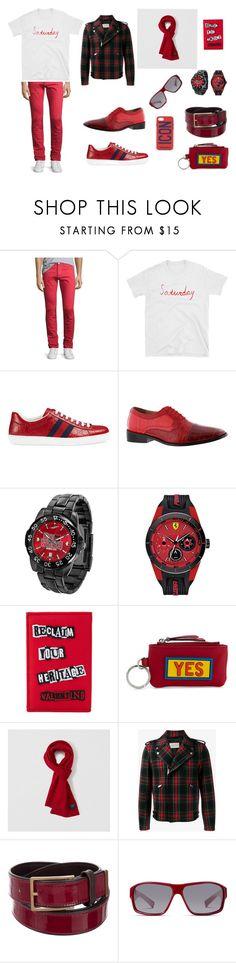 """Red Saturday for Men"" by mymillo ❤ liked on Polyvore featuring 3x1, Gucci, Giorgio Brutini, Ferrari, Valentino, Fendi, Abercrombie & Fitch, Lanvin, NIKE and Dsquared2"