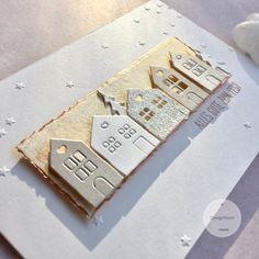 papierZART : Weiß & Gold, Häuserreihe, Cardmaking, Weihnachtskarte, Weihnachten, Alexandra Renke, aRTeam, papierZART