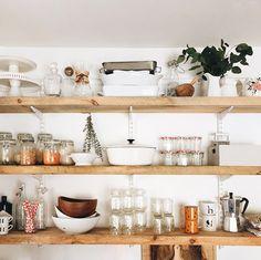 open wood kitchen shelving. / sfgirlbybay