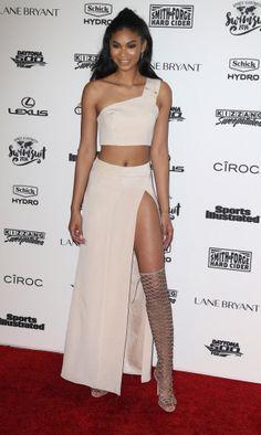 Chanel Iman in Schutz gladiator sandals.