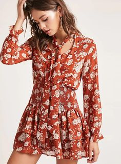 Floral Printed Long Sleeve Chiffon Collect Waist Dress | victoriaswing