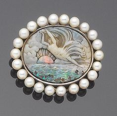 Opal Cameo And Cultured Pearl Brooch   -   Bonham's
