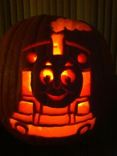 Thomas the train trains and pumpkins on pinterest for Thomas pumpkin template
