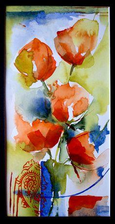 Petit instant N°341 (Peinture), 20x10 cm par Véronique Piaser-Moyen Aquarelle originale sur papier 300 G