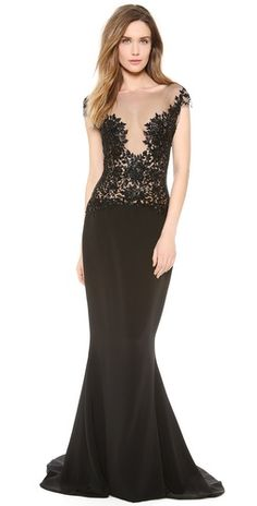 cb62c7cc715c88 Reem Acra Embroidered Illusion Gown