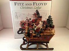 Fitz and Floyd Christmas Santa's Sleigh Music Box