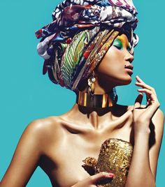 I love the patterns in these colorful scarves and the way they are used as a turban....