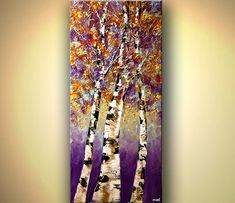 Contemporary Abstract Landscape Blooming Trees by OsnatFineArt