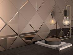 Revestimento de parede de cerâmica com efeito metal ALEATORY COPPER   Revestimiento de parede 3D de cerâmica - ALEA