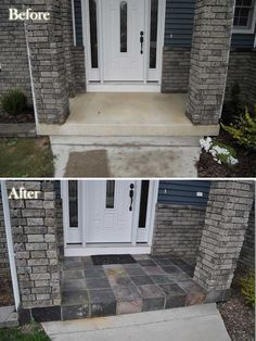 **This is the best pin for curb appeal I've found!** 20 Easy and Cheap DIY Ways to Enhance The Curb Appeal - slate tile entryway Home Renovation, Home Remodeling, Ideas Hogar, Front Entrances, Outdoor Living, Outdoor Decor, Design Furniture, Diy Home Improvement, House Front