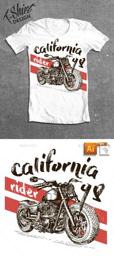 Motorcycle California T-shirt  EPS Template • Download ➝ https://graphicriver.net/item/motorcycle-california-tshirt/17048900?ref=pxcr