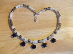 Rainbow moonstone, silver coated quartz and agate star necklace £12.00