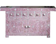 Surrealz Mother of Pearl Inlaid Sideboard Chest of Drawers in Pink with floral, scroll pattern.  Also available in Bone inlay options and other colours.