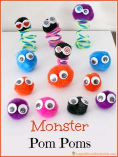 Pom Pom Monsters - easy craft for kids