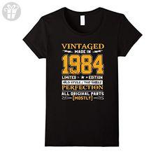Womens Vintage Born in 1984 33rd Birthday T-Shirt 33 Years Old Medium Black - Birthday shirts (*Amazon Partner-Link)