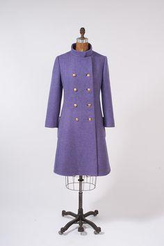 1960s Lavender Wool Coat  Double Breasted Coat  by missfarfalla, $275.00