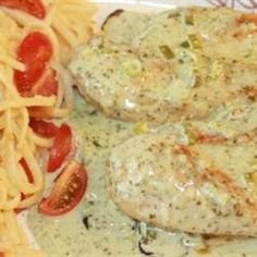 Lime Chicken with Cilantro Cream Sauce and Roasted Zucchini Recipe