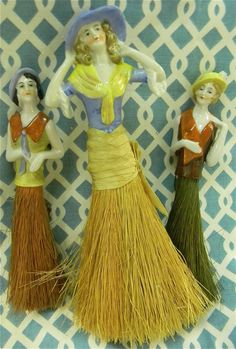 Half Doll Ladies - Grandma's very old china doll head would be perfect for a tassel similar to this.