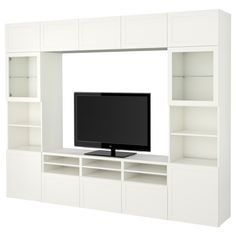 BESTÅ TV storage combination/glass doors - white, Selsviken high gloss/white clear glass (CA) - IKEA Glass Cabinet Doors, Glass Shelves, Glass Doors, Tv Storage, Storage Spaces, Storage Systems, Besta Tv Bank, Hemnes Shoe Cabinet, Brimnes