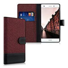 kwmobile Wallet Case Canvas Hülle für Huawei P8 Lite - Flip Tasche mit Kartenfach und Ständer in Grau Schwarz