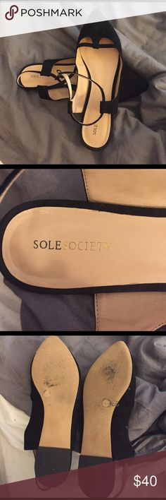 Sole society black flats Black sole society black flats, size 8.5, real leather, used, some wear, overall good condition Sole Society Shoes Flats & Loafers