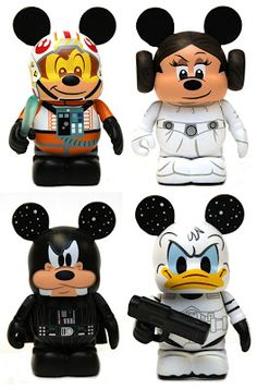 Star Wars x Disney Vinylmation Series - Mickey Mouse as a X-Wing Pilot, Minnie Mouse as Princess Leia, Goofy as Darth Vader  Donald Duck as a Stormtrooper