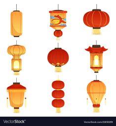 Chinese festival lanterns china street asian vector image on VectorStock Chinese Lantern Festival, Chinese Festival, Lantern Drawing, Asian Lamps, China Art, China China, Japanese Animated Movies, Vintage Lanterns, Chinese Lanterns