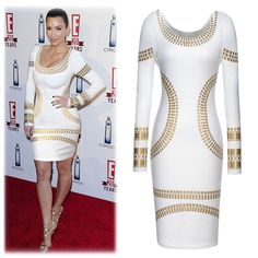 Women Dresses 2014 New Fashion Vintage Sexy OL Long Sleeve Sequined Effect Slim Knee-length Pencil Dress $22.00