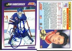 John Vanbiesbrouck New York Rangers Signed 1991-1992 Score Card # 10 Rare SL COA . $10.00. New York Rangers GoalieJohn VanbiesbrouckHand Signed 1991-1992 ScoreVintage Card # 10.GREAT AUTHENTIC HOCKEY COLLECTIBLE!!AUTOGRAPH AUTHENTICATED BY SPORTS LOT AUTHENTICATIONS WITH NUMBERED SPORTS LOT AUTHENTICATION STICKER ON ITEM. SPORTS LOT COA:  # 8575ITEM PICTURED IS ACTUAL ITEM BUYER WILL RECEIVE.