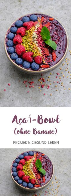 Açaí-Bowls müssen nicht zwingend Bananen enthalten - auch ohne schmecken sie super-lecker! Die dunkel-violetten Bowls stecken zudem voller Antioxidantien, Vitamine und Mineralstoffe und sind schnell zubereitet. Ein ideales Frühstück, insbesondere im Sommer!