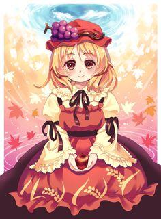 1girl aki_minoriko apple apron arm_ribbon autumn autumn_leaves black_skirt…
