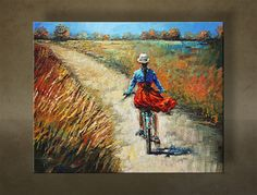 Girl Riding Her Bicycle - Nizamas Art Gallery Interior Modern, Canvas Pictures, Figure Painting, Original Paintings, Art Pieces, Art Gallery, Palette, Bicycle, Texture