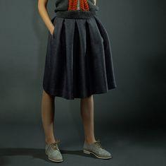 Pleated Skirts – Dark grey folded skirt with pockets – a unique product by Raili-Nolvak on DaWanda