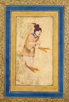 Dervish  Miniatures, Gouache and gold, 14.8x7.9 cm  Origin: Iran, Early 17th century  School: Isfahan