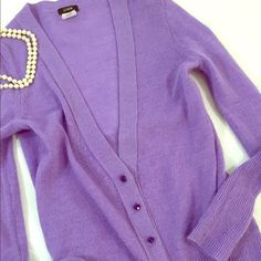 J. Crew Bling Button Cardigan Festive and feminine lavender cardigan with gleaming purple rhinestone buttons. Spun from an Italian blend of alpaca and merino wool in a 7-gauge knit. Rib trim at neck, cuffs, and hem. Hits at hip. Very gently worn and in excellent condition. trades feel free to ask questions. J. Crew Sweaters Cardigans