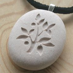 Tree of Life necklace - Hand engraved beach pebble necklace - Tiny PebbleGlyph (c) necklace  $20