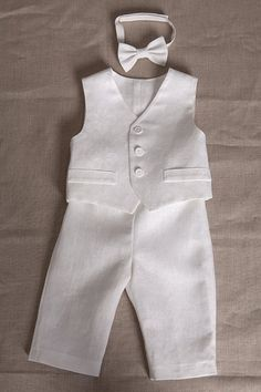 Baby boy baptism linen suit ring bearer outfit baby by Graccia