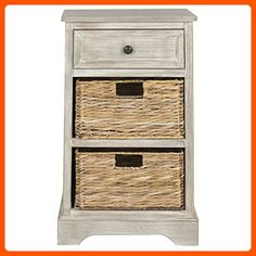 Safavieh AMH5700G American Homes Collection Carrie White Washed Side Table - Improve your home (*Amazon Partner-Link)