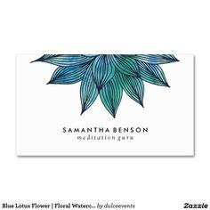 Blauer Lotos-Blume| BlumenWatercolor Visitenkarten