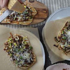 Grilled Mushroom and Leek Flatbread Pizza