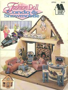 Fashion Doll Barbie CONDO and SNOWMOBILE -  OOP Plastic Canvas Pattern Book. $19.99, via Etsy.