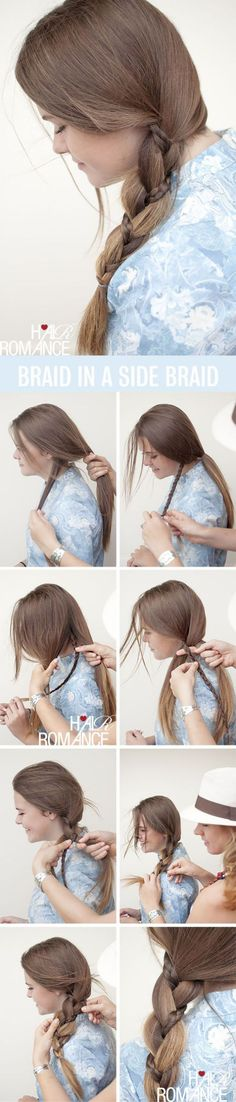 Braid hairstyle with two braids for long straight hair - Trenzado para cabello largo con otra trenza más chica entrelazada