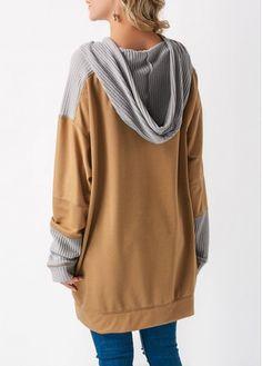 Khaki Pocket Long Sleeve Patchwork Hoodie on sale only US$34.27 now, buy cheap Khaki Pocket Long Sleeve Patchwork Hoodie at liligal.com