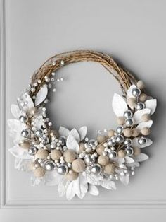 DIY Shabby Chic Christmas Ornaments | White wreath with Jingle Bells available at Horwchow.com.