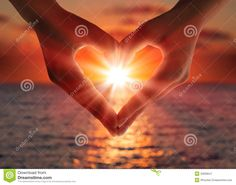 Sunset In Heart Hands Royalty Free Stock Photography - Image: 33939547