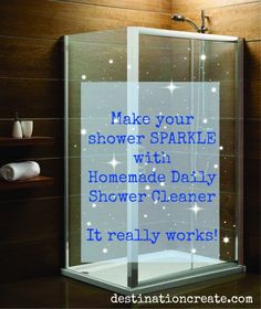Clean your shower just once a month! If you're like me you don't LOVE cleaning the shower, and if you have a glass shower then it's even worse right? I've gone as long as 8 weeks without cleaning my glass door shower and it still looks clean! Click through to discover my secret.