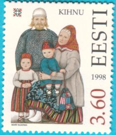 All* Estonian stamps: Kihnu folk costumes